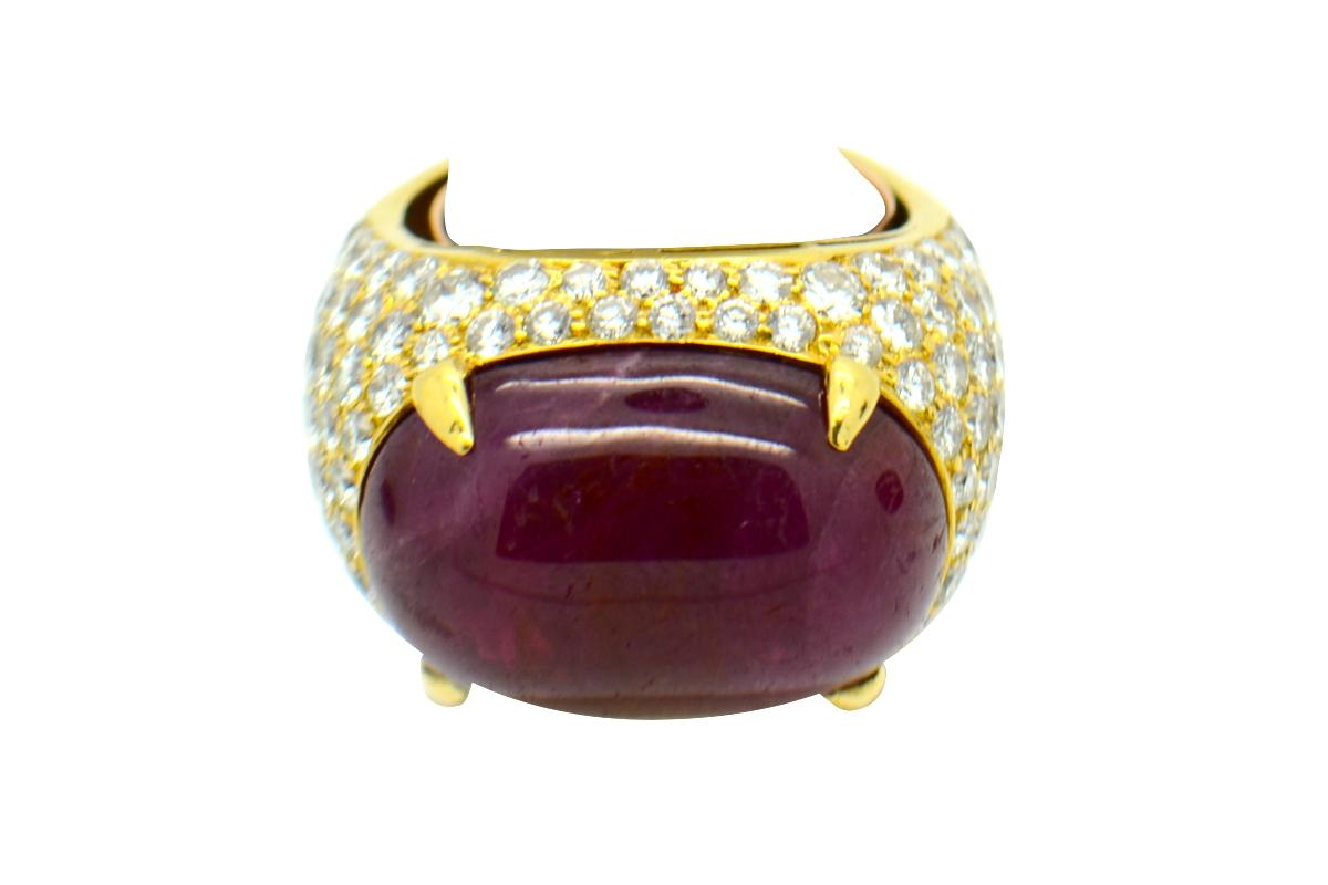 Bulgari ruby cabochon ring