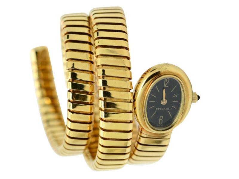 Bulgari oval dial gold watch
