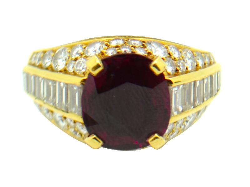 Bulgari ruby and diamond ring