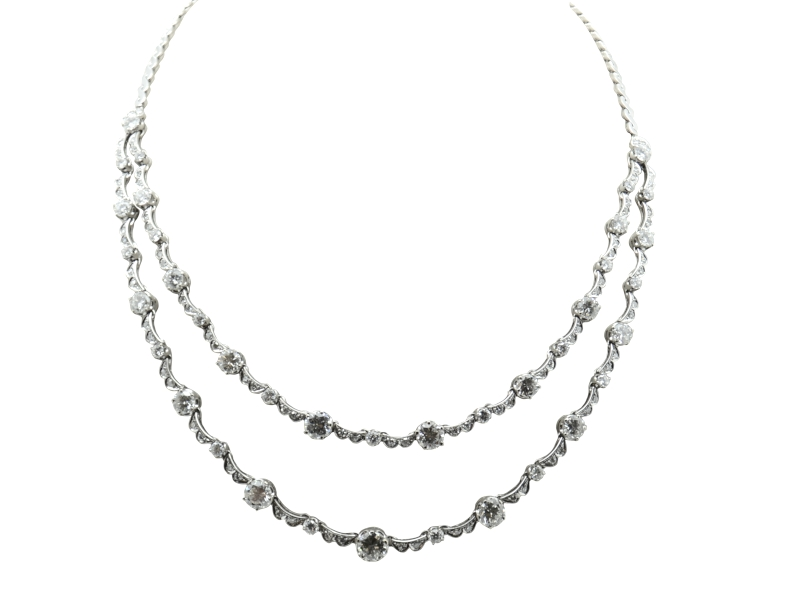 1960s round cut diamond necklace