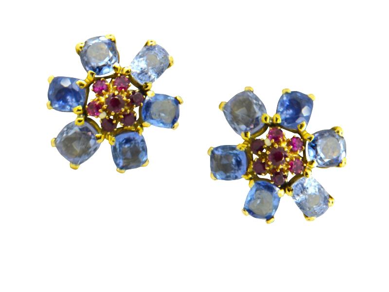 Van Cleef & Arpels sapphire and ruby earrings