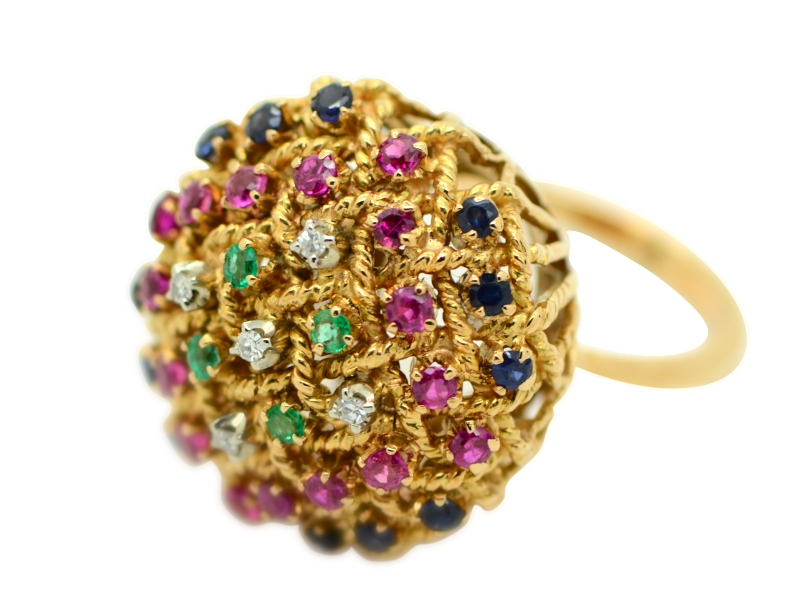 Sapphire, ruby and emerald ring