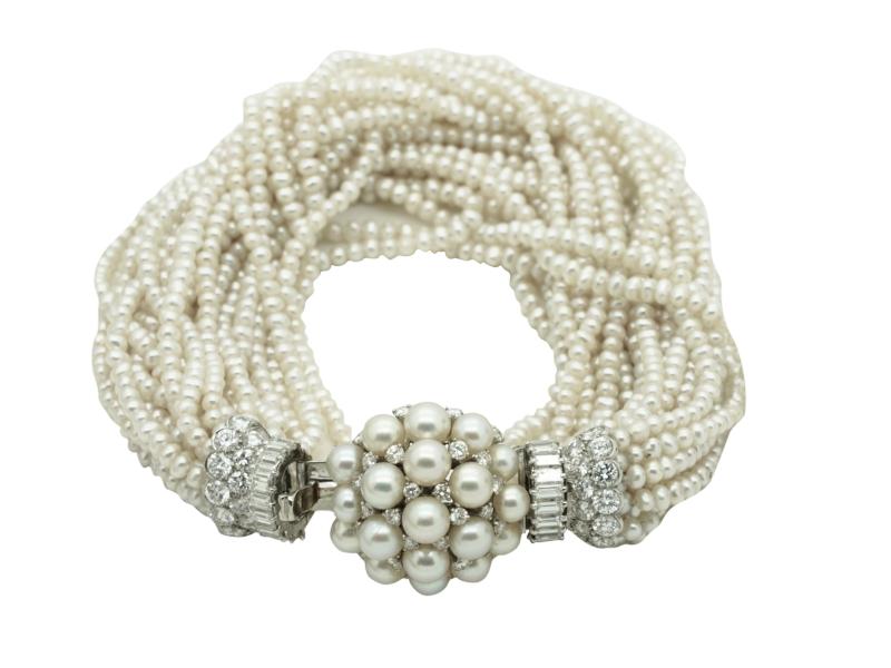 1960s Bulgari pearl and diamond bracelet