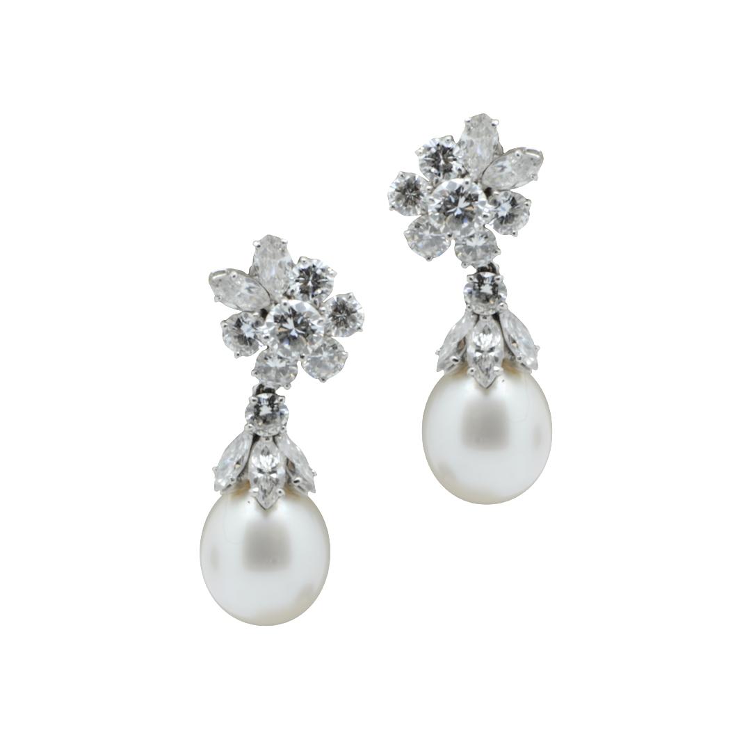 Bulgari diamond and pearl earrings