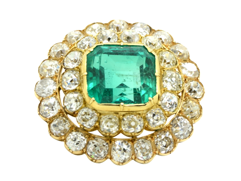 Emerald and diamond brooch/pendant
