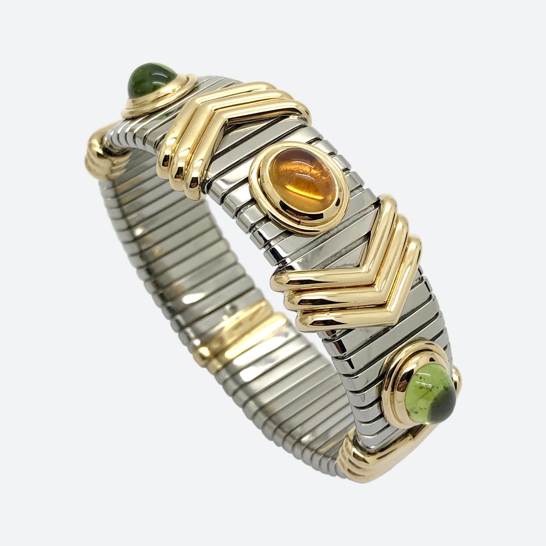 Bulgari steel and gold bracelet