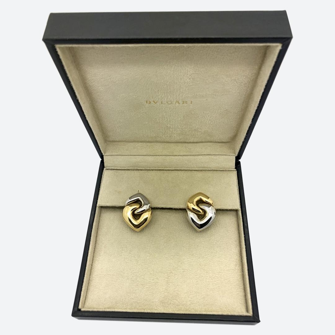 Bulgari white and yellow gold earrings