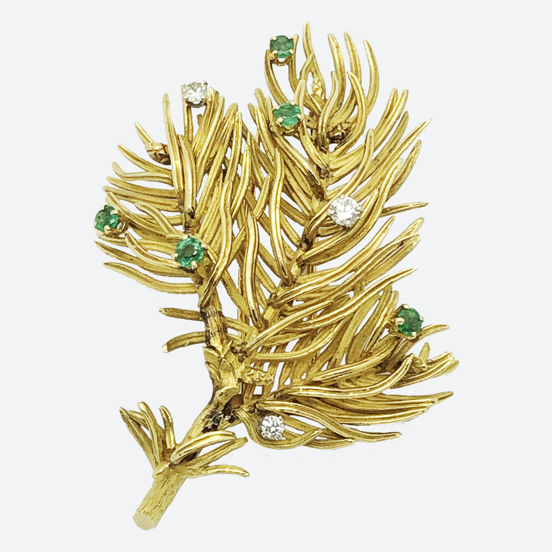 Hermes gold and diamond brooch