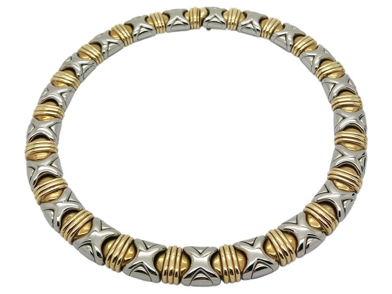 Bulgari steel and gold choker