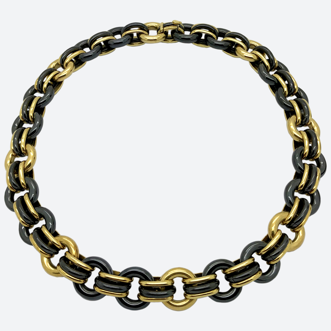 Faraone steel and gold necklace