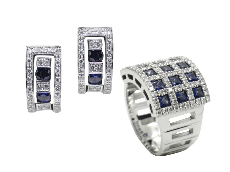 Damiani sapphire and diamond set