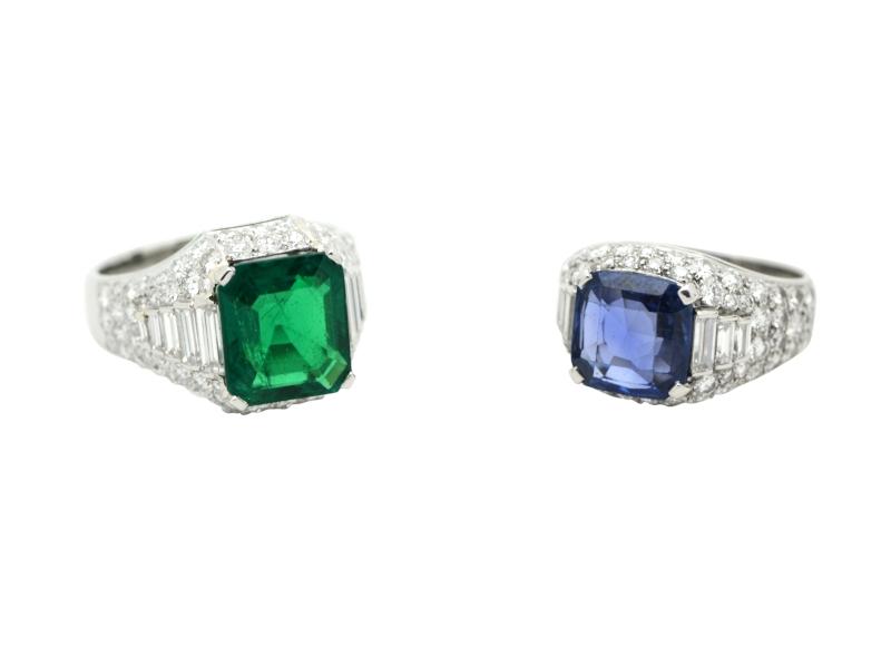 1960s Bulgari emerald and sapphire rings