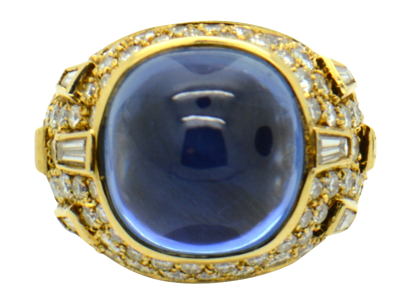 NH cabochon sapphire ring