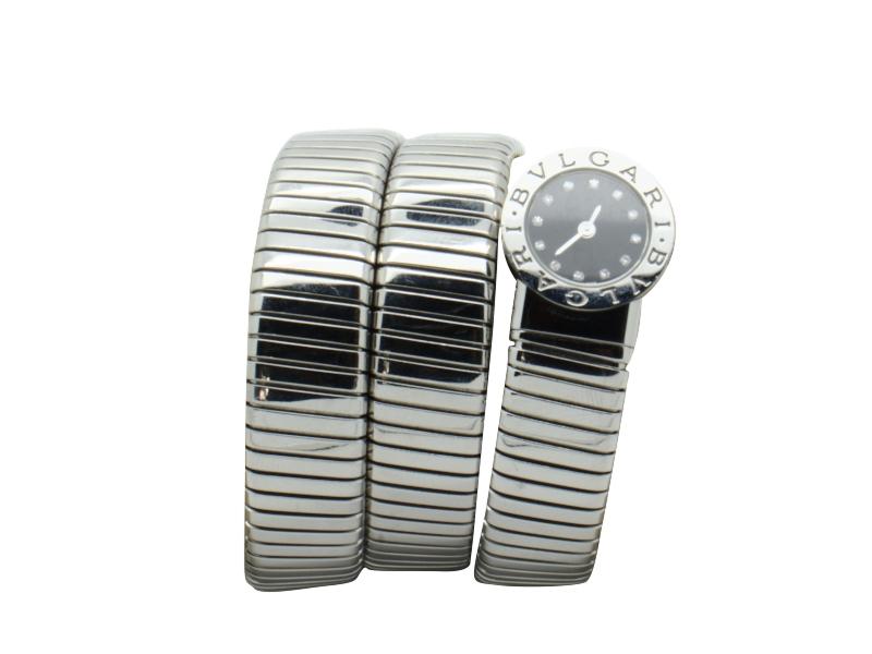 Bulgari steel and diamond bracelet