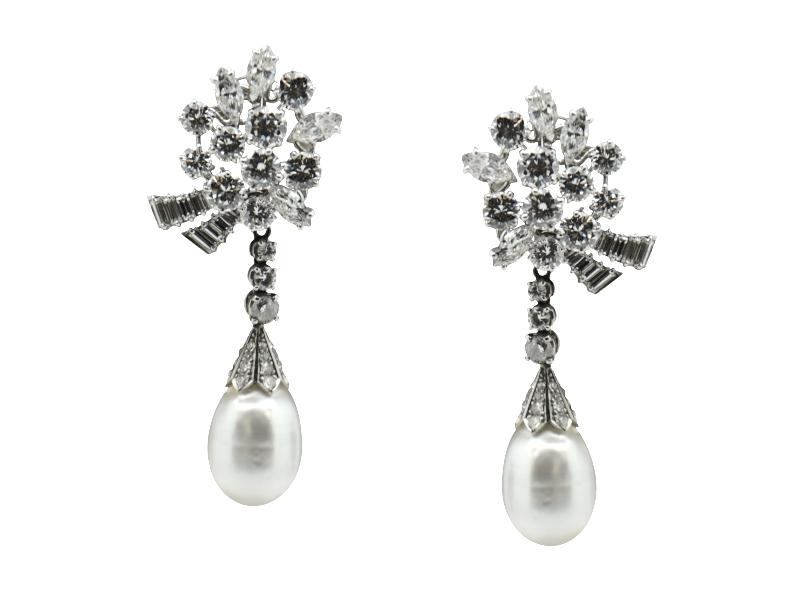 Massoni natural pearl and diamond earrings