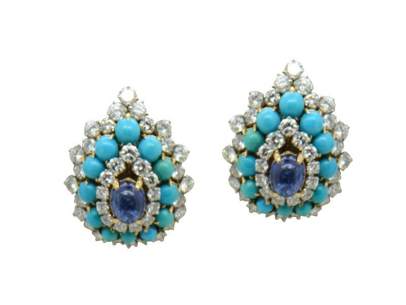 Bulgari sapphire, turquoise and diamond earrings