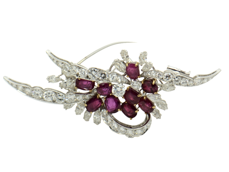 1970s ruby brooch