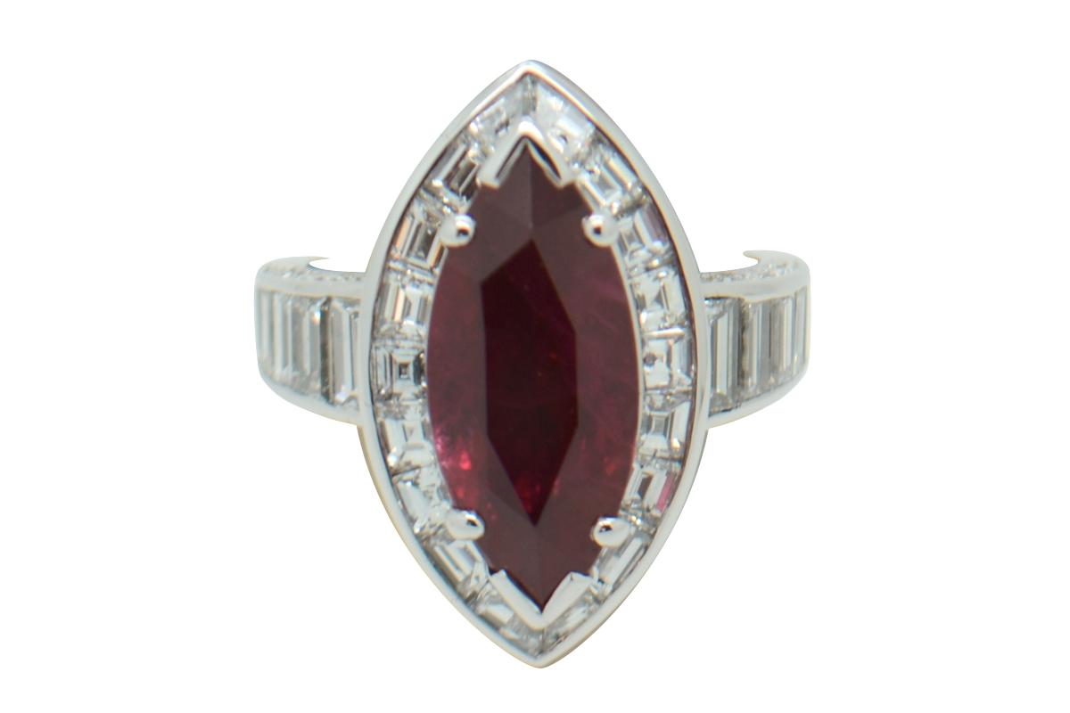 Navette cut ruby ring