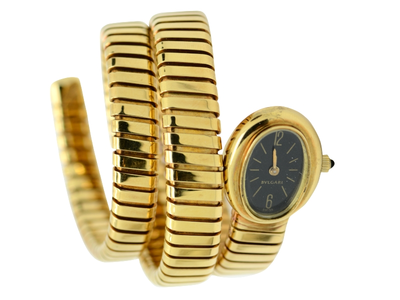 Bulgari oval dial gold watch