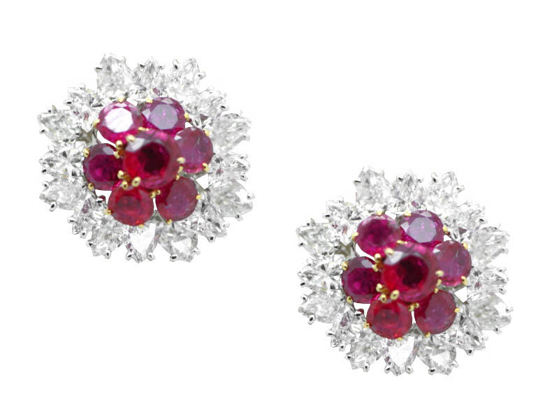 Bulgari ruby and diamond earrings