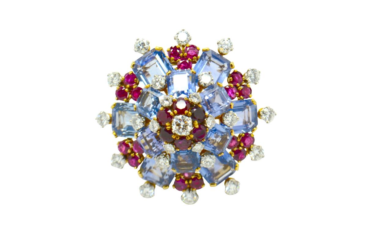 Bulgari sapphire ruby and diamond brooch